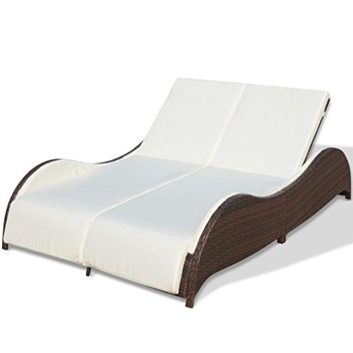 """Festnight 2-Person Patio Sun Lounger Bed Brown Rattan Garden Daybed Chaise Lounger with Adjustable Backrests and Cushion Outdoor Backyard Lawn Furniture 79"""" x 52"""" x 18"""" (L x W x H)"""