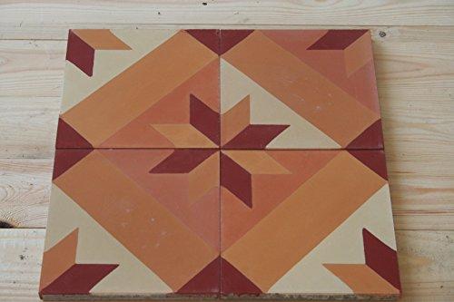 4 Bodenfliesen Zementfliesen - Handarbeit - Jugendstil Fliesen Altbau Neubau
