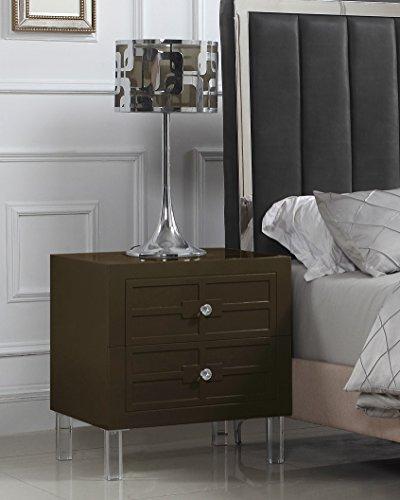 Preisvergleich Produktbild Iconic Home Naples Nachttisch,  Beistelltisch mit 2 selbstschließenden Schubladen,  lackierte Acrylknöpfe,  modern,  zeitgenössisch Traditionell Side Table braun