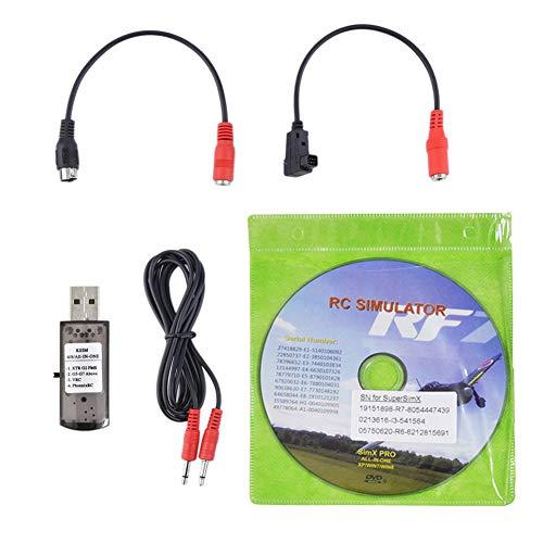 Koet RC Simulator, USB Flugsimulator Kabel Drohne Zubehör, 1,5 m Audiokabel, 22-in-1 RC Drone Draht Dongle für RealFlight G7, nicht null, siehe abbildung, Free Size