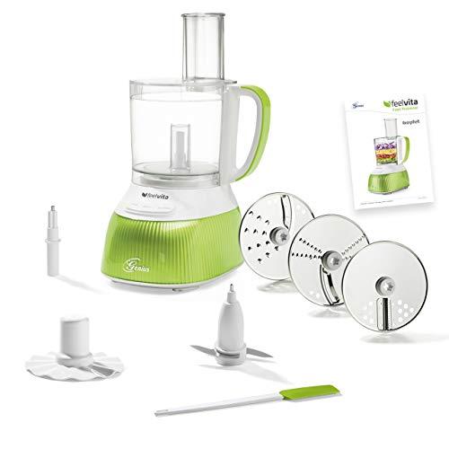 Genius A80891 Feelvita Food Processor | 12 Teile | Küchenmaschine | 11 Funktionen | Zerkleinerer, Kunststoff
