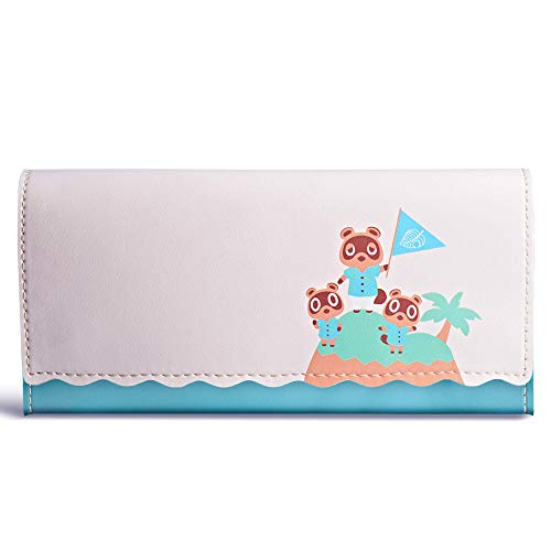Funlab Leather Carrying Case for Nintendo Switch Lite,Portable Ultra Slim Clutch with Game Card Holder for Animal Crossing Fans(Island Version)