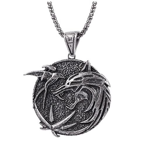 gujiu Witcher Necklace Wolf Medallion Colgante de la joyería de la joyería para el día de San...