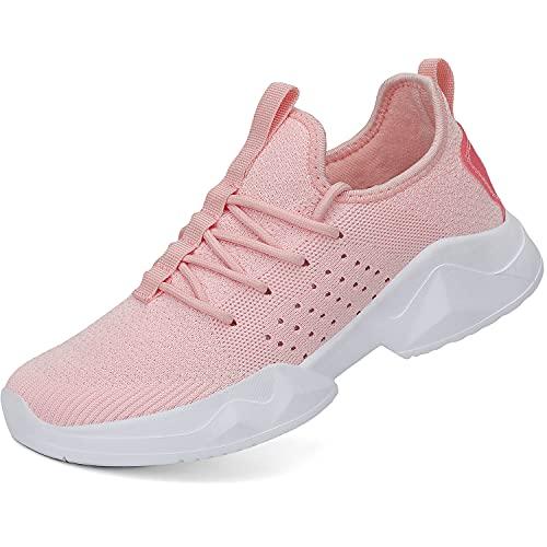 Dannto Zapatillas de deporte de moda para mujer resbalón en zapatos deportivos antideslizantes tenis deportes señoras gimnasio calzado, A-negro, 9.5