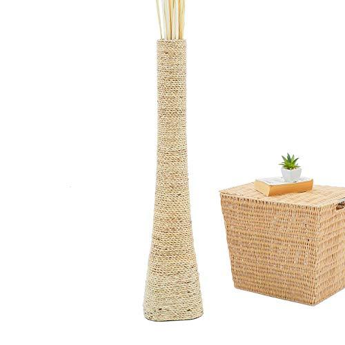 Leewadee jarrón de Suelo Grande – Florero Alto y Hecho a Mano de Madera exótica y Rafia, Recipiente de pie para Ramas Decorativas, 90 cm, Color Natural