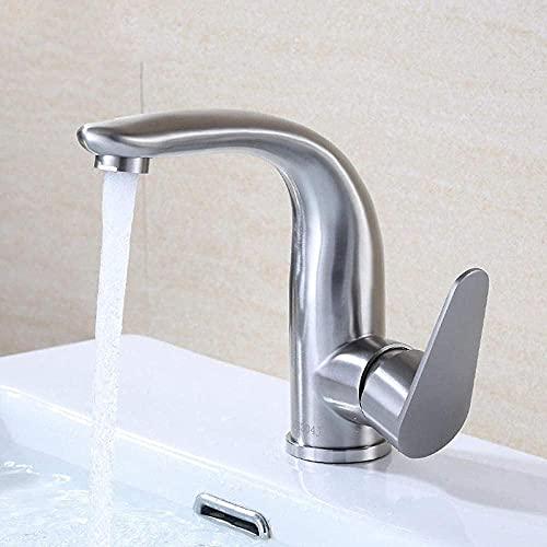 Kran kran 304 rostfritt stål borstad sida öppet handfat ett hål kran varmt och kallt hushåll badrum skåp handfat blandare
