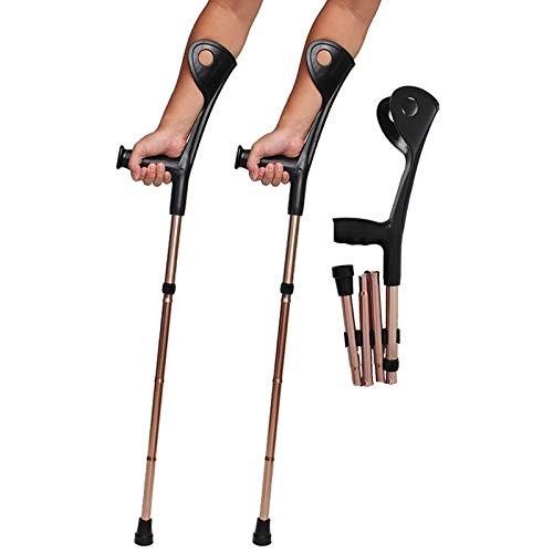 Tingeart Folding Crutches, Muletas Adulto Regulables Aluminio, Muletas De Antebrazo Ayudas para Caminar Plegable Muletas con Soporte De Codo Ligera De Aluminio Ajustable En Altura 2 Piezas
