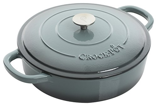 Crock Pot 112001.02 Artisan 5 Quart Enameled Cast Iron Braiser Pan, Slate Grey