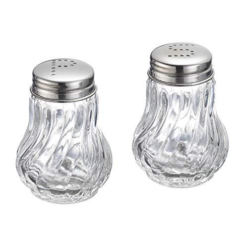 Westmark Salz- und Pfefferstreuer-Set, 2-tlg., Fassungsvermögen: je 50 ml, Glas/Rostfreier Edelstahl, Berlin, Silber/Transparent, 65362270