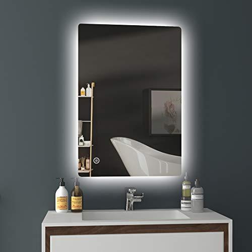 EMKE LED Badspiegel 80x60cm Badezimmerspiegel mit Beleuchtung kaltweiß Lichtspiegel Wandspiegel mit Touchschalter + Beschlagfrei