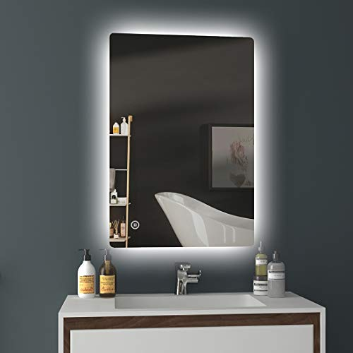 EMKE LED Badspiegel 80x60cm Badezimmerspiegel mit Beleuchtung kaltweiß Lichtspiegel Wandspiegel mit Touchschalter