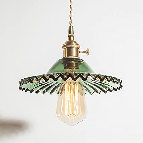 Lámpara colgante con pantalla de cristal verde lámpara de techo vintage para comedor dormitorio luz de techo de latón lámpara de industrial cocina pasillo salón mesa de comedor candelabro retro E27