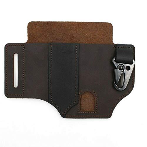 Multitool-Lederscheide mit Schlüsselhalter für Gürtel- und Taschenlampenscheide Multitool-Tasche (Braun)