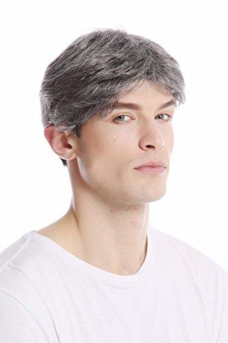 WIG ME UP ® - GFW1168-44 Peluca corta hombres moderna juvenil color gris oscuro con negro