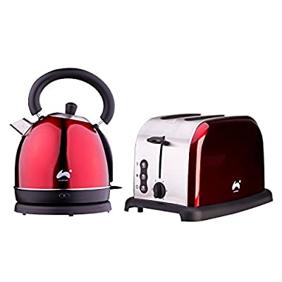 Ovation Classic Breakfast Set - 2200W Dome Kettle with 1.8L Capacity & Strix Control Integrated Boil Dry Protection | 1500W 2 Slice Multi Function Toaster - Available in Red or Plum