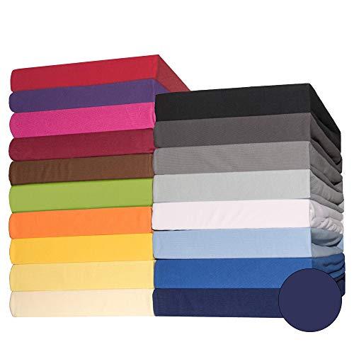 CelinaTex Lucina Spannbettlaken 140x200-160x200 cm dunkel blau Baumwolle Spannbetttuch Jersey Bettlaken