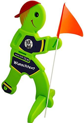 UvV-Feuerwehr 3D Warnschild Achtung spielende Kinder. Reflektierendes Warnaufsteller Schild für Spielstraßen Kitas, Spielplätze (Feuerwehr-Wunschtext)