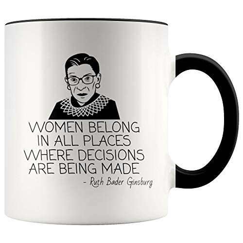 Lplpol Geschenk für Anwälte Ruth Bader Ginsburg RBG Kaffee Tee Tasse Frauen gehören in allen Orten wo Entscheidungen sind Being Made Law School Student Geschenk Feministische Geschenk