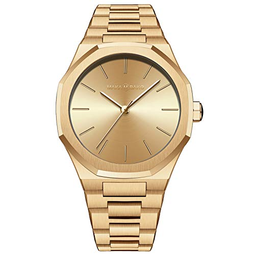 QZPM Reloj de Cuarzo para Mujer, Banda Malla Acero Inoxidable Ultra Delgado Impermeable Deportivo Analógico Reloj Casual de Negocios,Oro