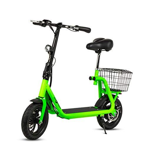 Patiente eléctrico ECOXTREM Scooter eléctrico de Color Verde, diseño Minimalista con Cesta Trasera y luz LED Frontal. Motor de 350W, batería de Litio 36V. Ideal para desplazamientos urbanos.
