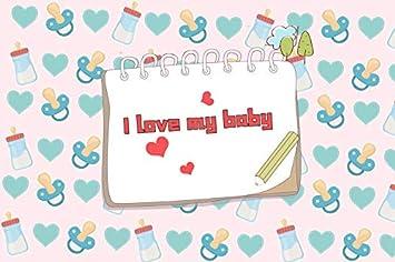 AOFOTO 5x3ft Vinyl Desk Calendar I Love My Baby Photography Backdrop Newborn Milk Bottle Nipple Background Pink Teal Baby Shower Happy Birthday Party Decor Banner Portraits Photo Studio Props