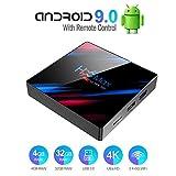 Android TV Box,Android 9.0 TV Box Smart Media Box 4GB RAM 32GB ROM RK3318 Quad Core Bluetooth 4.2 WiFi 2.4G & 5G Ethernet 1USB 3.0 & 1USB 2.0 Set Top Box Support 4K Ultra HD Internet Video Player