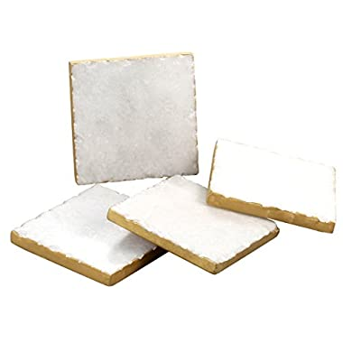 Thirstystone NMKA2170 Square White Marble/Gold Edged Coasters (Set of 4), Multicolor