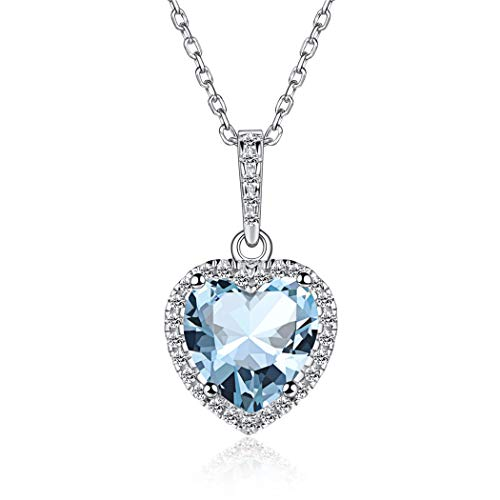 Big Crystal Heart Birthstone Pendant Necklace March 925 Sterling Silver Women Jewelry Gifts for Mom Daughter