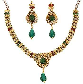 Touchstone Indian Bollywood Traditional Studded Look Rhinestone Faux Ruby Emeraldd Pretty Wedding Designer Jewelry Necklace Set In Antique Gold Tone For Women.