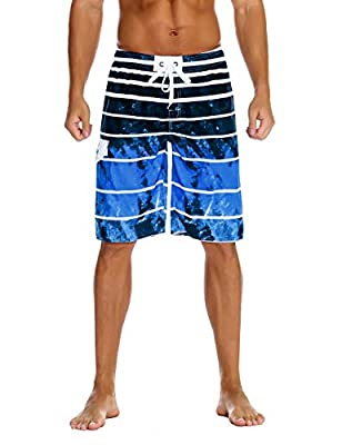 Nonwe Men's Beachwear Quick Dry Holiday Drawstring Striped Beach Shorts Sky Blue 36