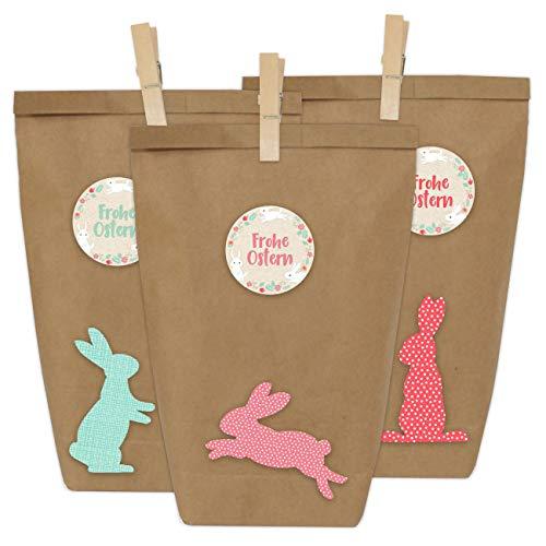 Papierdrachen 12 DIY Geschenktüten zu Ostern zum Basteln - Kreatives Osternest mit 12 Papiertüten und Osterhasen Aufklebern - Design 13