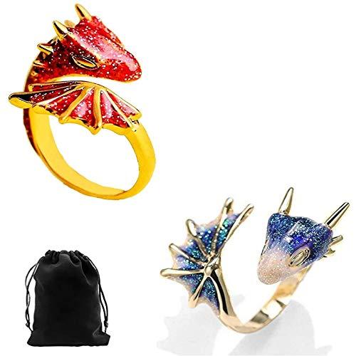 Anillo de dragn de topacio dorado para mascotas, anillo de dragn de topacio para mujer, tamao ajustable (rojo + azul)