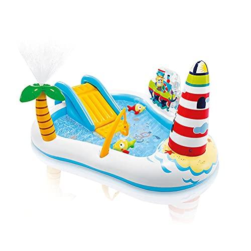 LGLE Piscina Hinchable Infantil con Tobogan, Centro de Juegos Hinchable Agua,Castillo Hinchable para Niños, Piscina Infantil,218X188X99CM,