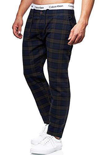 Indicode Herren Costa Karierte Stoffhose mit 4 Taschen aus 98% Baumwolle   Lange Regular Fit Stretch Hose Karo-Muster Herrenhose Baumwollhose Männerhose Freizeithose für Männer Navy 34/34