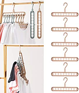 Airmoon Space Saving Hangers Magic Cascading Hangers Multifunctional Closet Clothes Hanger Organizer, Pack of 6 Pink