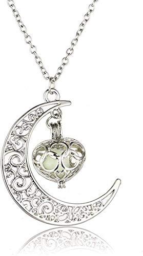 YANCONGHot Moon Glowing Necklace Gem Charm Jewelry Chapado en Plata Halloween Hollow Luminous Stone Colgante Collar Azul