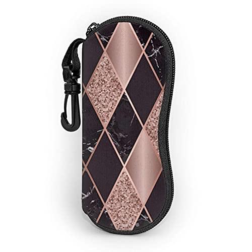 Rose Gold Marble Pink Black Geometric Cremallera Shell Gafas de sol Estuche/Estuches para gafas Unisex Durable Portátil Ligero 17x8cm