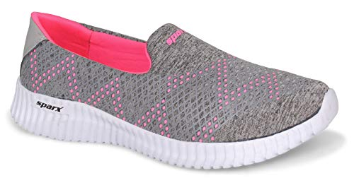 Sparx Women SL-123 Grey Pink Fabric Sports Shoes UK-5