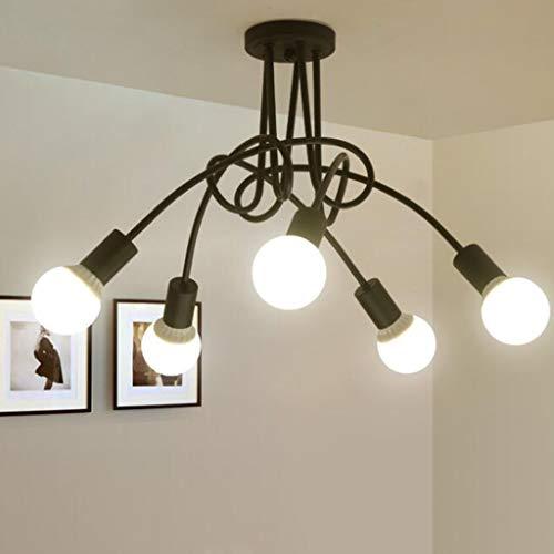 Vintage techo luz techo 5 llamas lámpara techo luz lámpara industrial E27 porta lámpara para dormitorio Sala estar Cocina Oficina Estudio Iluminación Fijo Deckenlamp [Clase de energía A ++]