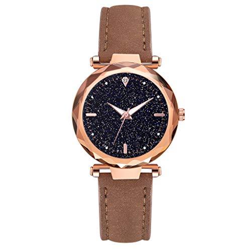 TWISFER Fashion Damen/Women Analog Quarzuhr Armbanduhren Leder Armband Sternenklarer Himmel Simulierter Diamant Dial Leuchtend Armbanduhr