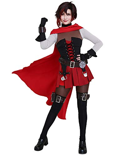 miccostumes Women's Volume 7 Ruby Rose Cosplay Costume with Cloak and Belts Set (X-Large)
