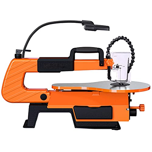Scroll Saw, 500-1700 SPM Variable Speed Scroll Saw with Flexible Shaft Grinder (31 Accessories), Foot Switch, LED, Air pump -TLSS01A