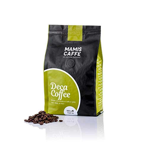 Mamis Caffè Deca Coffee 100{435bc275994cc0bdb414f7951ce7aa375437c30df574984c2b6793fbdf774f72} Arabica ganze Bohnen entkoffeiniert 500 gr