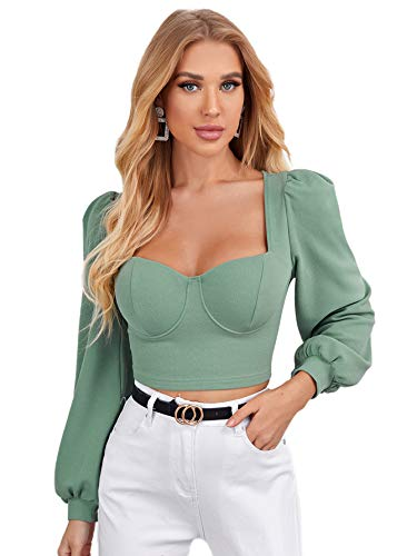 Floerns Women's Elegant Sweetheart Neck Lantern Long Sleeve Blouse Crop Top Mint Green S