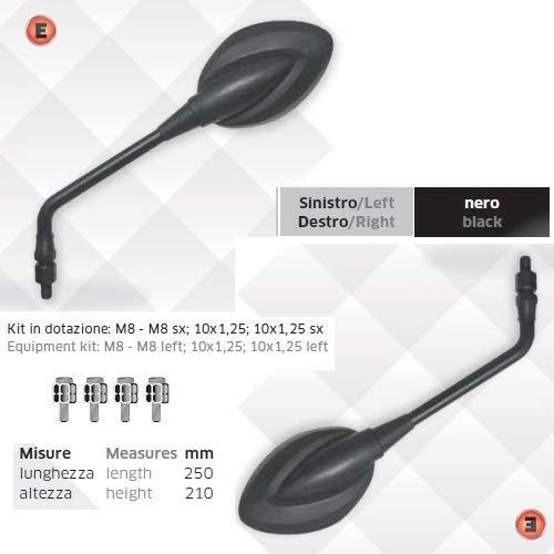 Compatibel met Derbi Senda 50 paar stuurspiegels voor motorfiets, koplampen, zwart toegelaten universele Rearview-spiegel 5603 5603 montageset M8DX - M8SX;