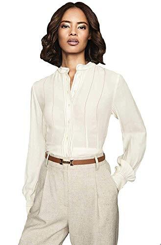 Reiss Ladies Grandad Collar Long Sleeve Shirt Blouse, Cream RRP $146 Size UK4-UK14 (10)