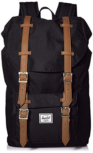 Herschel Little America Backpack with Laptop Sleeve, Black/Tan Synthetic Leather, Classic 25L