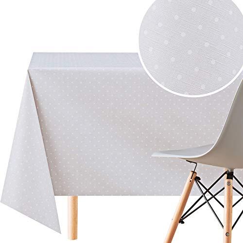 KP HOME Mantel de PVC blanco con mantel rectangular de 200 x 140 cm, mantel de plástico de vinilo lavable con estampado de lunares