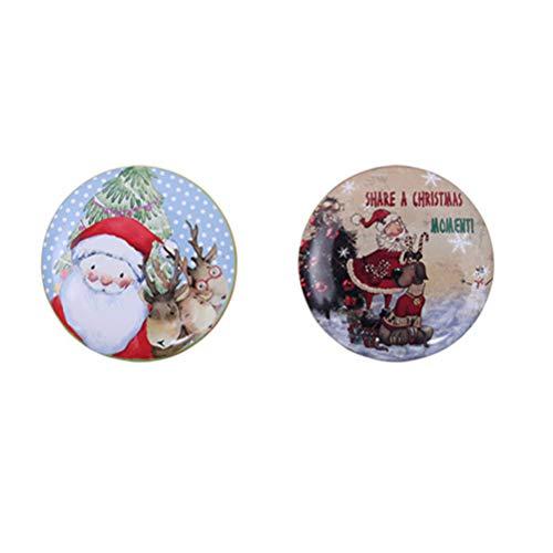 Toyvian 2 Stücke Weihnachten Geschenkdose Kerzen Dose Metalldose Keksdose Teedose Gebäckdose Vorratsdose Retro Blechdose für Yoga Spa Massage Teelichter Süßigkeiten Gewürze(Zufall)