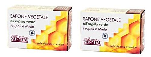 Argital–pflanzliche Seife in Ton grün, Propolis und Honig 2Packungen 100gr, Reinigen Gesicht, Haut für Impure, Akne, Pickel.
